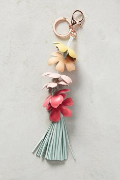 Anthropologie Flower Bunch Keychain