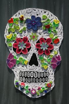 Paper Quilled Sugar Skull by LorysQuilling on Etsy