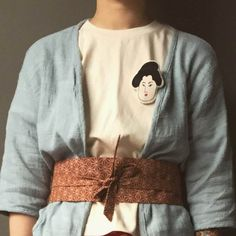 Lost in Kyoto collection ivory/black japanese traditional Samurai/Geisha/Nogaku embroided T-shirt for men and woman