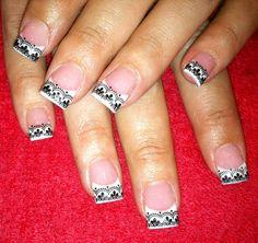 Pink & white gel with konad stamping