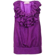 MATTHEW WILLIAMSON Jacquard ruffle sleeveless top ($285) ❤ liked on Polyvore