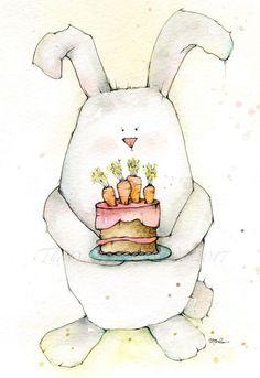 Watercolor Birthday Cards, Watercolor Cake, Watercolor Artwork, Watercolor Animals, Watercolor Illustration, Watercolor Flowers, Watercolor Fish, Easter Paintings, Cake Drawing