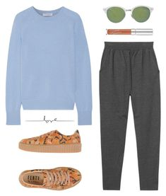 """""""There's something in the air that brings her back."""" by luxecouture ❤ liked on Polyvore featuring Monki, Equipment, Puma and Ray-Ban"""