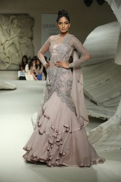 Gaurav Gupta - India Couture Week 2016 pinned by A Sari A Day - @asariaday Lehenga Saree, Anarkali, Saree Gown, Indian Gowns, Indian Attire, Indian Outfits, Engagement Dresses, Lehenga Designs, Bridal Outfits