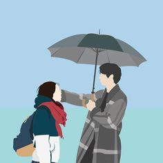 """""""It looks like it's about to stop raining"""" """"It's because my mood just got better"""" -Goblin Cute Couple Drawings, Cute Couple Art, Couple Illustration, Illustration Art, Goblin The Lonely And Great God, Goblin Korean Drama, Goblin Art, Korean Art, Cartoon Wallpaper"""
