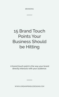 15 Brand Touchpoints Your Creative Business Should be Hitting — Jordan Prindle Designs Branding Your Business, Personal Branding, Business Design, Business Marketing, Creative Business, Content Marketing, Media Marketing, Business Tips, Business Logos