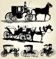 Illustration of horse and carriage silhouette collection vector art, clipart and stock vectors. Horse Wagon, Victorian Life, Horse And Buggy, Horse Carriage, Prop Design, Horse Drawn, Illustrations, Animal Paintings, Vintage Prints