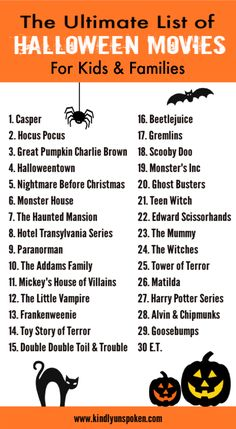 Today I'm sharing 30 of The Best Halloween Movies for Kids and Families to watch this October. Both kids and adults will love these popular, classic Halloween movies! The Best Halloween Movies for Kids and Families to Watch *This post 833025262309586145 Halloween Movies List, Halloween Movie Night, Soirée Halloween, Halloween Buckets, Halloween Activities, Holidays Halloween, Disney At Halloween, Halloween Soundtrack, Horror Films