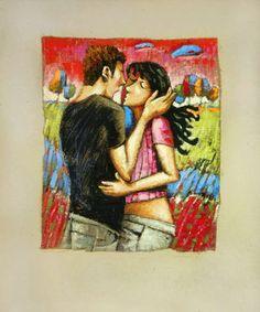 """Saatchi Art Artist Evgen Semenyuk; Painting, """"Lovers in Pink"""" #art"""