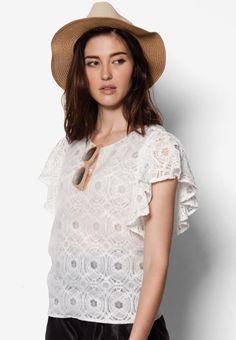Buy Maxqullo White Short Sleeve Lace Top | ZALORA HK
