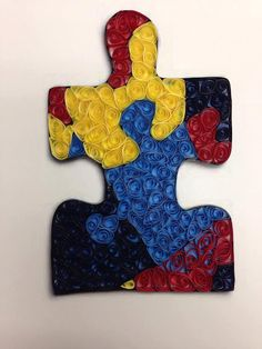 Paper Quilling Autism Puzzle Piece Framed Art 5x7 by jgaCreations