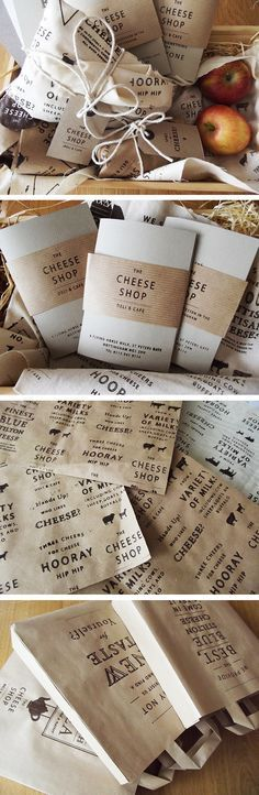 Love the simple black ink on natural paper. Would work really well with your logo. Also cheap production. Could incorporate colored stickers on top to specify type/flavors/etc.  (The Cheese Shop by Charlotte Estelle Littlehales, via Behance)