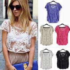 Womens Floral Semi Sheer Shirt Sleeve T-Shirt Lace Crochet Top Blouse Cheap #New #Loose