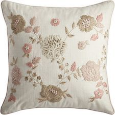 Romantic Glam Embellished Floral Pillow