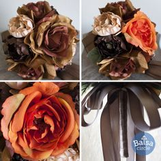 Full and beautiful bridal bouquets from Balsa Circle, made with high-quality artificial roses and ranunculus flowers.