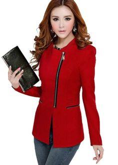 Womens Fashion Zip Skinny Jackets long Sleeve Blazer Suit Coat Out Wear - List price: $27.88 Price: $11.99 Saving: $15.89 (57%)