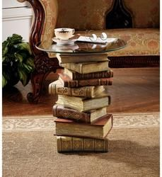 Power of Books Sculptural Glass-Topped Side Table - NG32069                    - Design Toscano