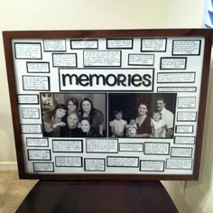 Dads birthday gift! Each of us wrote our best memories with him, and did an old & new picture of us :)