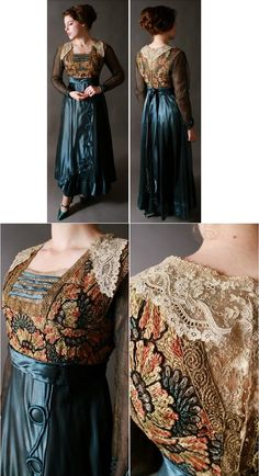 Vintage Edwardian Dress - Bold Teal Silk Dress with Colorful Embroidery and Metallic Lace c. 1915 https://www.etsy.com/listing/151097448/vintage-edwardian-dress-bold-teal-silk