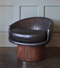 """Ox Chair by EM Design – American, leather, swivel wood base, two available 28""""H x 32""""W x 33""""D, seat:19""""H"""