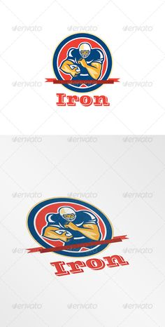 Iron College Football Tuition Logo by patrimonio Iron College Football Tuition Logo. Logo showing illustration of an american football gridiron player holding ball fending off def Badge Template, Logo Design Template, Logo Templates, Circle Logo Design, Circle Logos, Music Festival Logos, Nfl Logo, Monogram Logo, Business Card Logo
