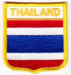 """Thailand - Country Shield Patches by Flagline. $2.75. 2.5"""" x 2.75"""" Shield Patch. Our shield patches feature each country's flag below the name, and can be sewn on or ironed on. Actual size is approximately 2.5"""" x 2.75"""". (""""Flagline.com"""" does not appear on the item.)"""