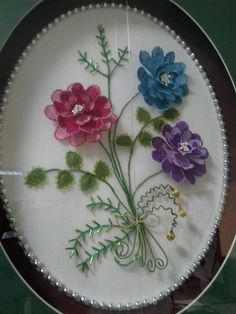 This Pin was discovered by Bah Ribbon Embroidery, Embroidery Patterns, Diy And Crafts, Arts And Crafts, Quilling Craft, Brazilian Embroidery, Point Lace, String Art, Needle And Thread