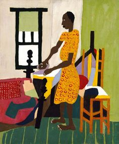 William H. Johnson, Woman Ironing, 1944, oil on plywood, Smithsonian National Museum of American Art, Washington, D.C. Born 1901, Florence, South Carolina; suffered discrimination under segregation; studied at National Academy of Design, New York;  moved to France 1926, then Denmark; returned to U.S.1938, with Danish wife, Holcha Krake, who died in 1943; lived in New York till 1946.  Wife died in 1943; he never recovered. In 1947, he was committed to a mental hospital until his death in…