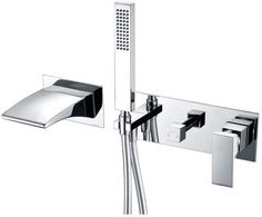 Double Handle Wall Mounted Tub Spout with Diverter and Handshower Clawfoot Tub Faucet, Roman Tub Faucets, Lavatory Faucet, Bath Shower Mixer, Shower Faucet, Wall Mount Tub Faucet, Stand Alone Tub, Freestanding Tub Filler, Waterfall Faucet