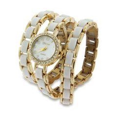 White and Gold CZ Wrap Around Watch