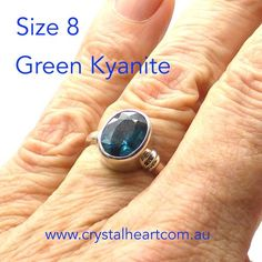 Green Kyanite Ring, Faceted Oval PB4