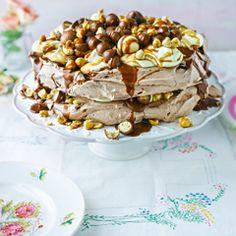 Very chocolatey salted caramel and hazelnut pavlova - Sainsbury's Magazine
