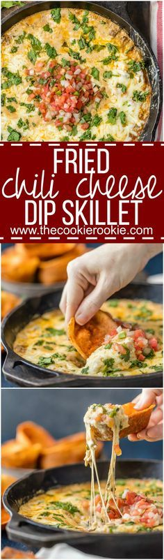 Fried Chili Cheese Dip Skillet - Our favorite ONE POT dip recipe for tailgating! Skillet cheese dip never looked so good! Such a cheesy and easy dip recipe!