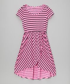 Neon Pink Stripe Hi-Low Dress - Girls | Daily deals for moms, babies and kids