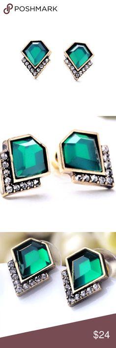 Gorgeous Emerald Green Earrings Beautiful emerald green colored earrings lined with rhinestones. Brand new! Jewelry Earrings
