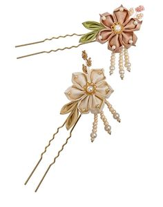 "This delicate flower is made of light beige, or blush-pink and leaf-green wild silk, using the traditional ""Tsumami Kanzashi"" Japanese technique, will make a pretty little jewelry for your hair.  *** Now available also in rose pink & green and yellow & purple colour combinations, as shown ***Can be made in other colours of your choice, just convo us   From the centered freshwater pearl nested in a golden little flower, to freshwater and Swarovski pearls which accentuate the tips and the…"