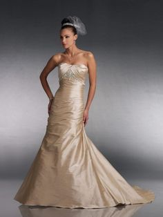 Silk Like Satin Softly Curved Neckline A-line Wedding Dress