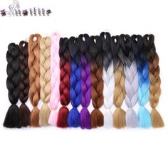 s-noilite 100g/pack 24inch braiding hair ombre two tone colored jumbo braids hair synthetic hair for dolls crochet hair