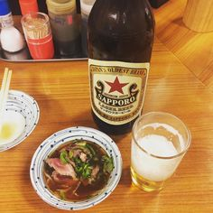 大阪駅前第1ビル地下2階の銀座屋赤星と牛のたたきはガチうまですakahoshi is a Sapporo rager beer and is so nice! #大阪 #駅前 #地下2階 #1ビル #居酒屋 #銀座屋 #赤星 #サッポロ #ビール #瓶ビール #ラガー #タタキ #たたき #ポン酢 #PonzuSauce #ginzaya #izakaya #osaka #umeda #bar #solo #beef #rare #tataki #reasonable #botlebeer #beer #akahoshi #ガチうま #鉄板 by hiroyuki_ishitani