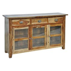 Provide to your study room a classic look with the new Reclaimed 3 Glass Drawer Buffet that comes with a designer look along with ample storage space to Tv Media Stands, Wood Buffet, Brass Handles, Wood Construction, Wooden Furniture, Glass Panels, Glass Door, Clear Glass, Storage Spaces