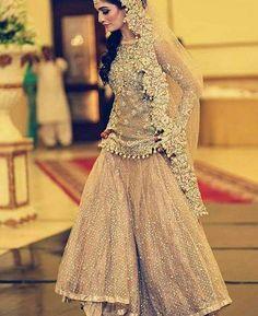 peach pink bridal peplum tops with lehenga designs 2017 Asian Wedding Dress, Pakistani Wedding Outfits, Bridal Outfits, Pakistani Dresses, Indian Outfits, Indian Dresses, Nikkah Dress, Anarkali Dress, Lehenga Designs