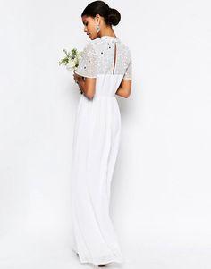Imagen 2 de Vestido largo con adornos y cuello subido de ASOS BRIDAL