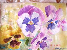 Pansy Watercolour Painting Original Watercolour by RomanceandRoses