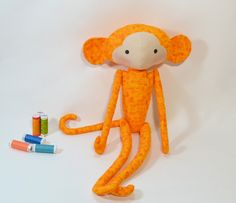 orange Tilda monkey,soft toys,Tilda doll fabric,plush monkey softie,handmade cuddly,nursery gift,cute animal,baby shower gift,kid room decor by Chiffony on Etsy
