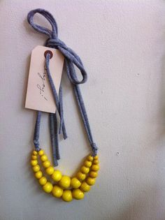 Clementine — Color Pop Necklace ~ Yellow on Jersey Knit cord