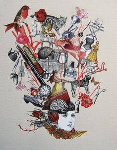 All In Her Head Original Collage by Katie McCann by BeetleBlossom on Etsy