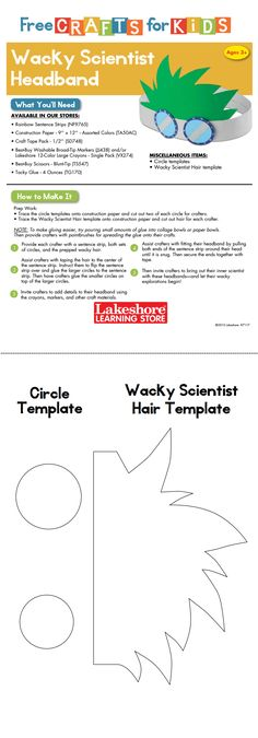 Instruction Sheet from Lakeshore's Free Crafts For Kids event featuring the Wacky Scientist Headband.