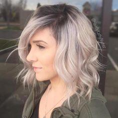 Ash Blonde Wavy Lob With Dark Roots