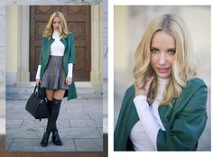 Front Row Shop Green Faux Leather Coat, Front Row Shop Houndstooth Skirt