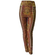 Preowned Iconic Gianni Versace Couture Baroque Printed Evening... ($1,750) ❤ liked on Polyvore featuring pants, leggings, multiple, legging pants, versace leggings, versace, brown leggings and versace pants